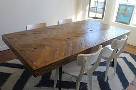 narrow dining room tables reclaimed wood romantic amazon com reclaimed wood herringbone dining table made to