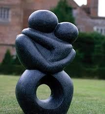garden statue or ornament in black terrazzo granite effect outdoor