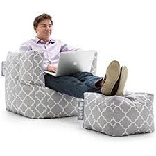amazon com coaster lazy life bean bag and ottoman in gray