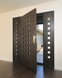 Modern Main Door Ideas With Black Stained Teak Wood Cubicle Hole