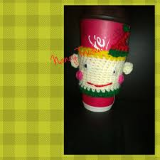 of gold crochet cup cozy pattern for a starbucks grande cup elf cup cozie made by nancy trudeau items that i crocheted