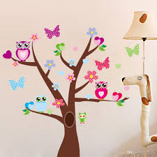 Removable Wall Decals For Nursery Large Tree Wall Stickers Owls Butterflies Peel And Stick