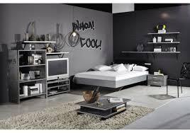 Schlafzimmer Komplett 140 Cm Bett Jugendzimmer Mit Bett 140 X 200 Cm Industrial Print Optik Graphit