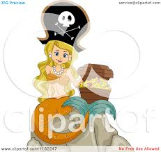 cartoon of a blond pirate mermaid sitting on a rock with a