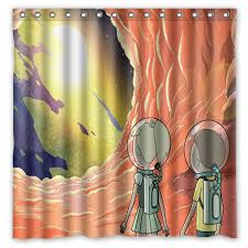 Washable Curtains Bathroom Products Polyester Fabric Rick And Morty Printed Shower