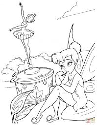 tinkerbell is looking at a ballet dancer statue coloring page
