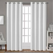 Winter Window Curtains Leeds Winter White Textured Slub Woven Blackout Grommet Top Window