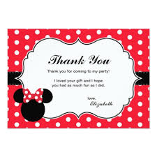 minnie mouse thank you cards minnie mouse white polka dot birthday card zazzle