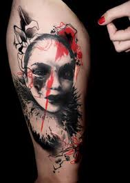 classic abstract face tattoo design for thigh by buena