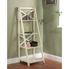 high gloss antique white x back 4 tier ladder shelf storage case