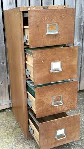 vintage industrial wood effect 1930s office four 4 drawer filing