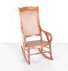 Cane Rocking Chair Vintage Lincoln Style Cane Back Rocking Chair Ebth