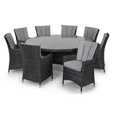 Round Garden Table With Lazy Susan by Maze Rattan La Grey 8 Chair Round Dining Set Garden Furniture