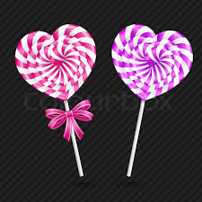 heart shaped candy two heart shaped lollipops vector stock vector colourbox