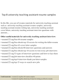 Resume Sample For Teacher Assistant by Top8universityteachingassistantresumesamples 150512234623 Lva1 App6891 Thumbnail 4 Jpg Cb U003d1431474435