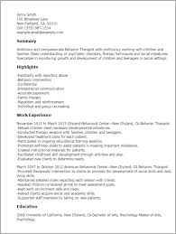 Summary Examples For Resume by Professional Behavior Therapist Templates To Showcase Your Talent