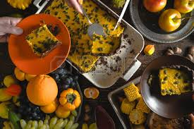american thanksgiving day chocolate pumpkin pie fruit stock