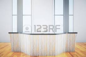 Wood Reception Desk Front View Of Light Wooden Reception Desk With Blank Banner In