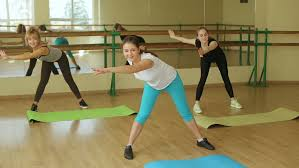 group of people making lunging in fitness hall stock footage video