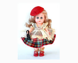 fashions for ginger red scotch plaid dress and pinafore with hat
