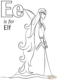 letter e is for elf coloring page free printable coloring pages