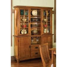 Display Hutch Arts And Crafts Buffet And Hutch Cottage Oak Finish Walmart Com