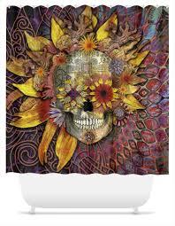 origins botaniskull shower curtain sun flower sugar skull fusion