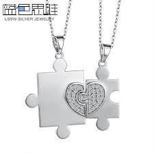 personalized heart pendant blue sweet necklaces personalized heart puzzle necklaces
