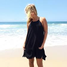 Black Loose Halter Dress With Side Slits