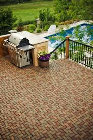 Patio Pavers Ideas by Flooring Azek Pavers Matched With Black Railing Plus Barbeque