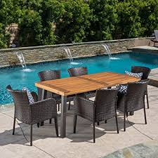 Outdoor Wood Dining Chairs Delgado 7 Outdoor Dining Set Wood Table W