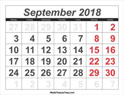 september 2018 calendar templates whatisthedatetoday com