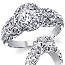 moissanite vintage engagement rings antique moissanite engagement ring 14k moissaniteco