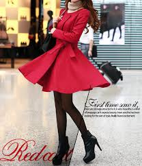 red black wool women coat women dress coat apring autumn co003