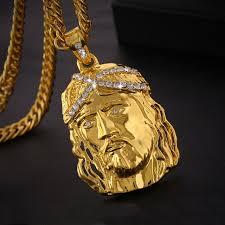 gold jesus pendant necklace images True religious men christ holy son jesus head pendant necklace 18k jpg