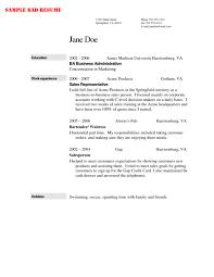 Bad Resume Samples by Sample Custom Bartending Resume With Jane Doe For Work Experience