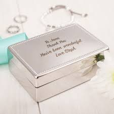 personalised jewelry box engraved silver rectangular beaded jewellery box gettingpersonal