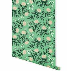 Wallpaper Shop Peonies Mint Wallpaper By Rifle Paper Co Made In Usa