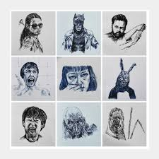daily movie sketch collection 1 square art prints artist