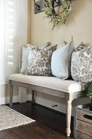 my house favorites entryway bench throw pillows and pillows