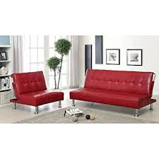 amazon com modern quality leather luxury futon sofa lounge