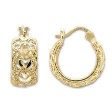 14 karat gold earrings 14kt yellow gold filigree hoop earrings