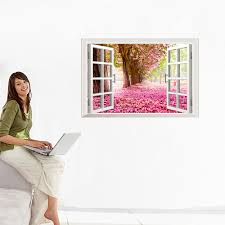 aliexpress com buy hot 3d window cherry blossom tree art home cherry blossom tree art home decor wall sticker wall decals without retail package aeproduct getsubject