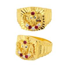 mens gold ring design 22ct yellow gold men s ring lord ganesha engraved design with cz