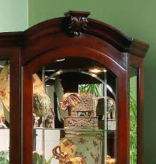 Discount Corner Curio Cabinet Corner Curio Cabinet In Medallion Cherry By Pulaski Home Gallery