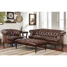 abbyson montego top grain leather tufted 3 piece sofa armchair