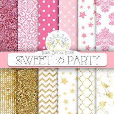 quatrefoil wrapping paper pink gold digital paper sweet 16 party digital