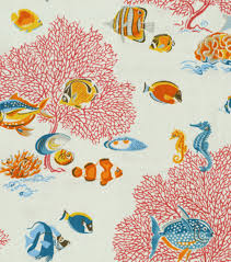 Waverly Home Decor Fabric Coral Reef Fish Fabric Stylized Retro Vintage Looking Home Decor