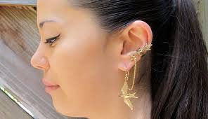 bajoran earring chain ear cuff bajoran ear cuff bronze quiver and arrows and