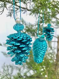 how to make a stunning teal pinecone ornament
